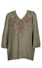 April Sky Women's Olive w/ Embroidery Tunic Fashion Shirt - Plus Size