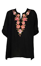 April Sky Women's Black w/ Floral Embroidery Tunic Fashion Shirt - Plus Size