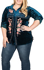 April Sky Women's Blue Velvet with Floral Embroidery Long Sleeve Fashion Top - Plus Size