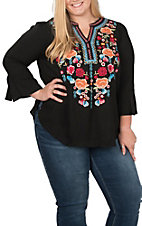 April Sky Women's Black with Multi-Floral Embroidery 3/4 Bell Sleeve Fashion Top - Plus Sizes
