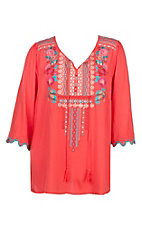 April Sky Women's Red Embroidered Tunic with Scallop Sleeves Fashion Top - Plus Size