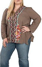 Andree Women's Mocha V-Neck Embroidered Top - Plus Size