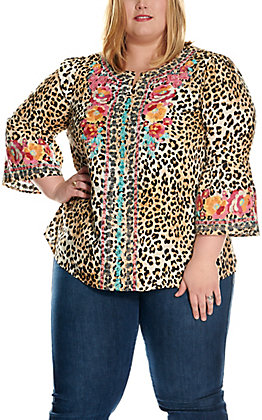 Savanna Jane Women's Leopard Print with Floral Embroidery 3/4 Bell Sleeve Fashion Top - Plus Sizes