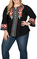 April Sky Women's Black with Multi-Floral Embroidery 3/4 Bell Sleeve Fashion Top - Plus Size