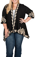 April Sky Women's Black and Taupe Embroidered Kimono - Plus Size