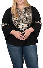 April Sky Women's Black with Taupe Embroidery 3/4 Bell Sleeve Fashion Top - Plus Sizes