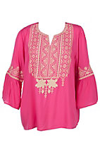 April Sky Women's Fuchsia Pink with Taupe Embroidery 3/4 Bell Sleeve Fashion Top - Plus Sizes