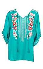 April Sky Women's Jade Embroidered Tie Neck Fashion Top - Plus Size