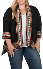 April Sky Women's Multicolored Embroidered Kimono - Plus Size