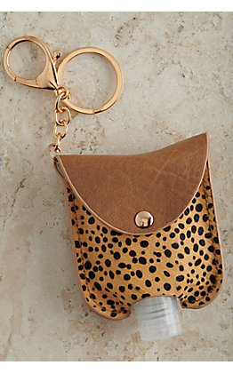 Amber's Allie Cheetah Hair Hand Sanitizer Holder Keychain