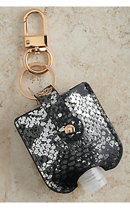 Amber's Allie Silver and Black Snake Print Hand Sanitizer Holder Keychain
