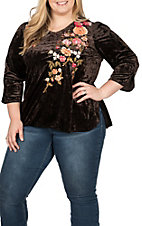 April Sky Women's Chocolate with Floral Embroidery 3/4 Sleeves V-Neck Fashion Top - Plus Size