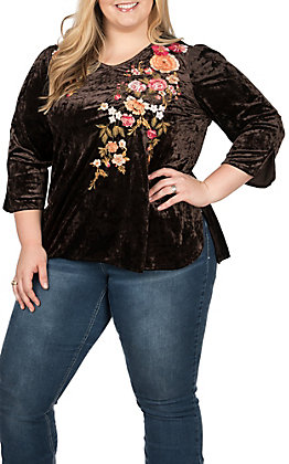 356be83fcd2 April Sky Women s Chocolate with Floral Embroidery 3 4 Sleeves V-Neck Fashion  Top
