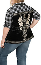 April Sky Women's Black Plaid & Velvet Embroidery Top - Plus Size