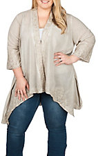 April Sky Women's Taupe Embroidered Kimono - Plus Size