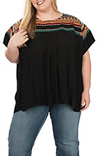 Andree Women's Black Short Sleeve Multicolored Fashion Top - Plus Size