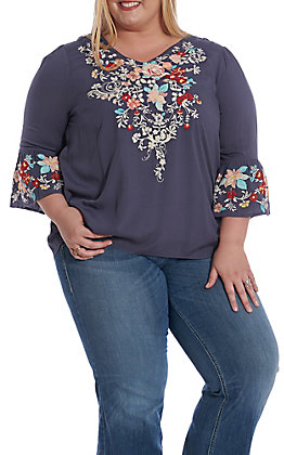 April Sky Women's Navy Floral Embroidery 3/4 Bell Sleeve Fashion Top - Plus Size