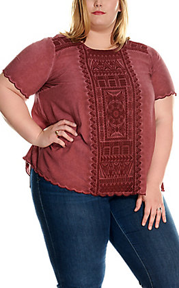 April Sky Women's Wine with Tonal Embroidery Short Sleeve Fashion Top - Plus Sizes