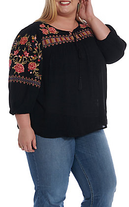April Sky Women's Black Floral Embroidered 3/4 Fashion Top - Plus Size
