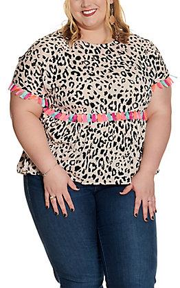 Savanna Jane Women's Mocha with Black Leopard Print and Multi Colored Tassels Short Sleeve Top - Plus Size