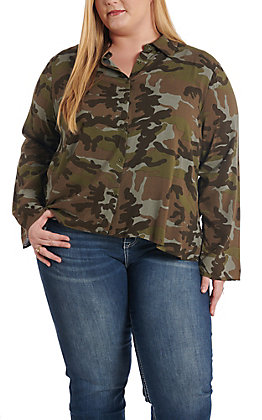 April Sky Camo Long Sleeve Fashion Button up with Cactus Patch Back - Plus Sizes