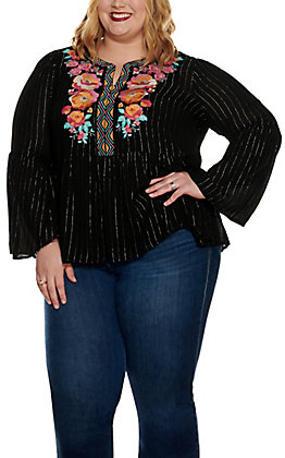 Savanna Jane Women's Black with Silver Stripes and Floral Embroidery Long Bell Sleeve Fashion Top