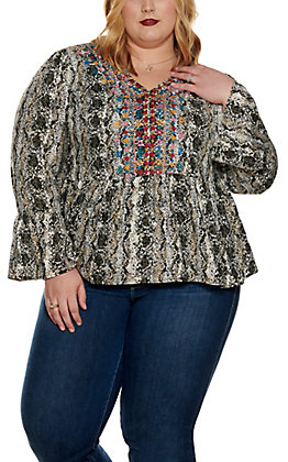 Savanna Jane Women's Snakeskin Print with Embroidery Long Sleeve Fashion Top - Plus Size