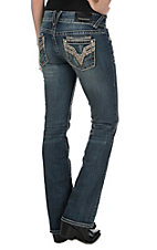 Vigoss Women's Faded Medium Wash with Destruction and Gold Embroidery and Sequins Open Pocket Boot Cut Jeans