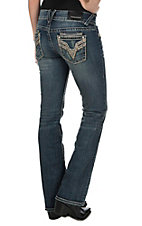 Vigoss Women's Faded Medium Wash with Destruction and Gold Embroidery and Sequins Open Pocket Boot Cut Jeans - Plus Size