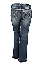 Vigoss Women's Faded Medium Wash with White Thick Stitch Embroidery Open Pocket Boot Cut Jeans - Plus Size