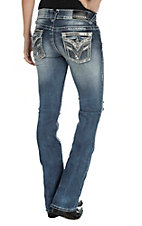 Vigoss Women's Faded and Destroyed Medium Wash with Silver Embroidered Deep V Flap Pockets New York Boot Cut Jeans