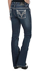 Vigoss Women's Dark Wash with Silver Embroidered Open Pockets Boot Cut Jeans