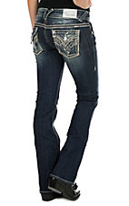 Vigoss Women's Faded Dark Wash with Silver Embroidery and Sequins Flap Pocket Boot Cut Jeans