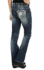 Vigoss Women's Faded Medium Wash with Destruction and Silver Embroidery and Sequins Open Pocket Boot Cut Jeans