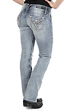 Vigoss Women's Light Wash with Rhinestone Details Open Pocket Boot Cut Jeans