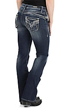 Vigoss Women's Dark Wash with Destruction Details Open Pocket Boot Cut Jeans