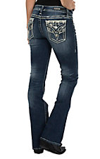 Vigoss Women's Dark Wash New York V Stitch Diamond Flap Pocket Boot Cut Jeans