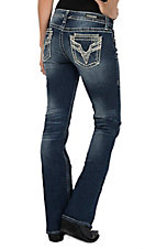 Vigoss Women's Dark Wash with Sequin V Embroidery Plus Dublin Boot Cut Jeans