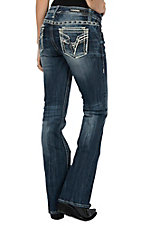 Vigoss Women's Dark Wash Dublin Blue & White Ombre V Stitch Pocket Boot Cut Jeans