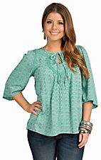 Angie Women's Green Embroidered Tie Neck Top