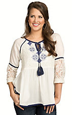 Angie Women's Ivory and Blue Embroidered Top