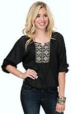 Angie Women's Black with Sand Embroidery 3/4 Sleeve Peasant Top