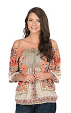 Angie Women's Khaki Print Cold Shoulder Fashion Top