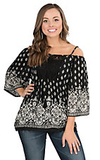 Angie Women's Black with Cream Print and Crochet Detailing Cold Shoulder 3/4 Sleeve Fashion Top