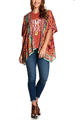Angie Women's Fuchsia, Orange and Teal Paisley Print Kimono