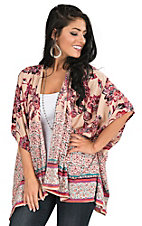 Angie Women's Taupe, Burgundy, and Teal Multi Print 1/2 Sleeve Kimono
