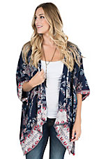 Angie Women's Navy, Pink, and Cream Floral Print with 1/2 Sleeve Kimono