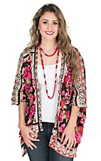 Angie Women's Black with Red, Pink, Green, and Cream Floral Print 1/2 Kimono