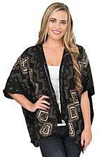 Angie Women's Black with Cream Geometric Print 1/2 Kimono