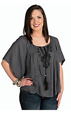 Angie Women's Grey Gauze Tie Neck Embroidered Top